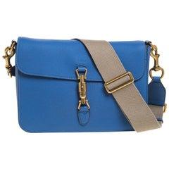 Gucci Blue Soft Leather Jackie Flap Shoulder Bag