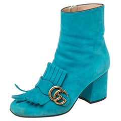 Gucci Blue Suede Marmont Fringe Detail Ankle Boots Size 37