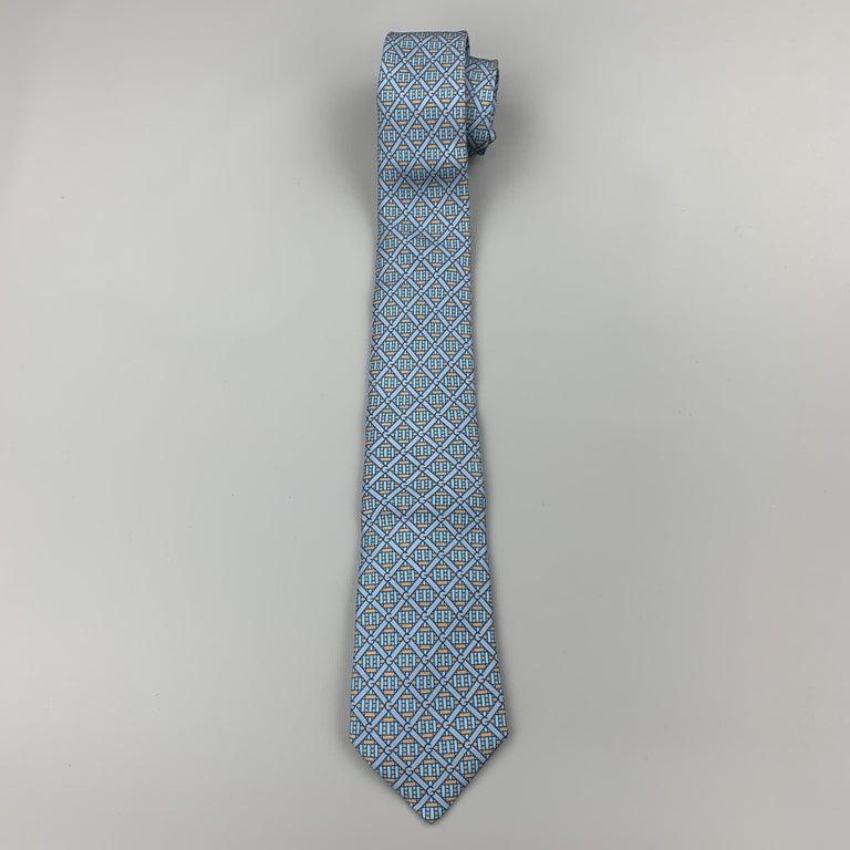 GUCCI Blue & Taupe Interlock G Monogram Print Silk Tie In Good Condition For Sale In San Francisco, CA