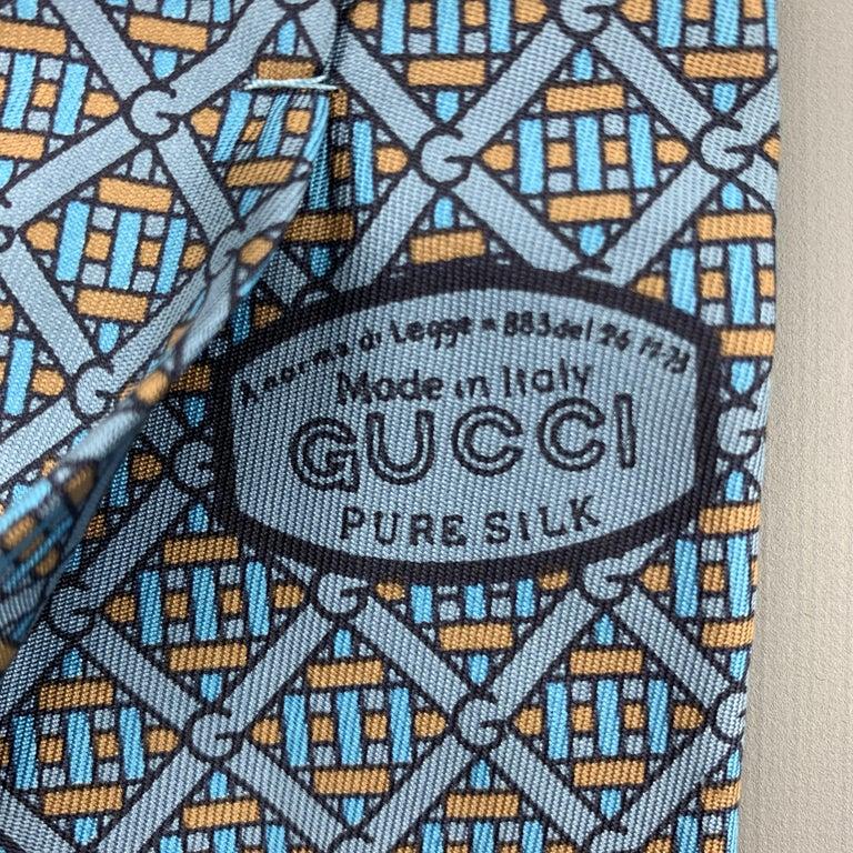 GUCCI Blue & Taupe Interlock G Monogram Print Silk Tie For Sale 1