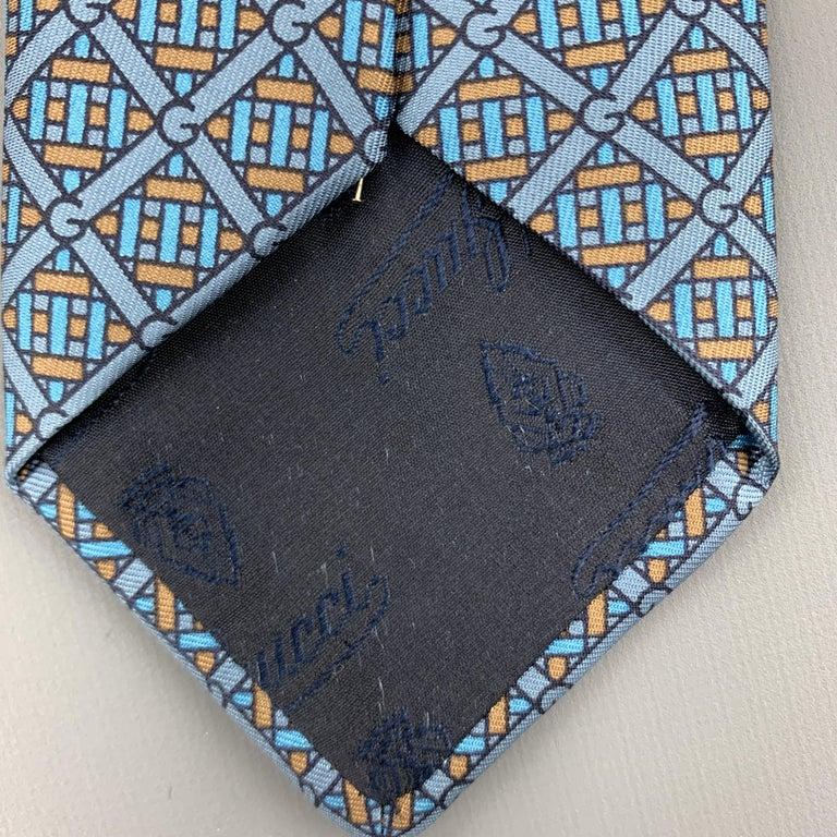 GUCCI Blue & Taupe Interlock G Monogram Print Silk Tie For Sale 2