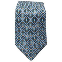 GUCCI Blue & Taupe Interlock G Monogram Print Silk Tie