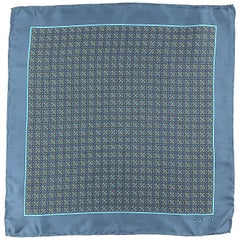 GUCCI Blue & Taupe Interlock G Monogram Silk Pocket Square