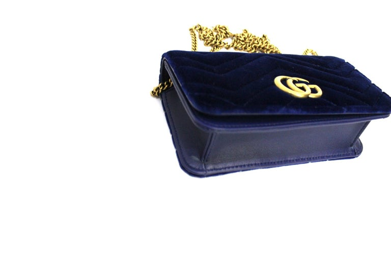Gucci Blue Velvet Marmont Bag For Sale 1