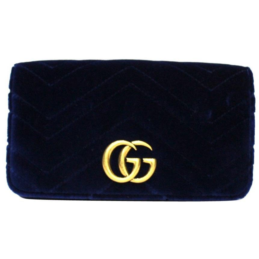 Gucci Blue Velvet Marmont Bag