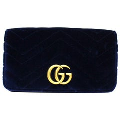 Gucci Blue Velvet Marmont Bag