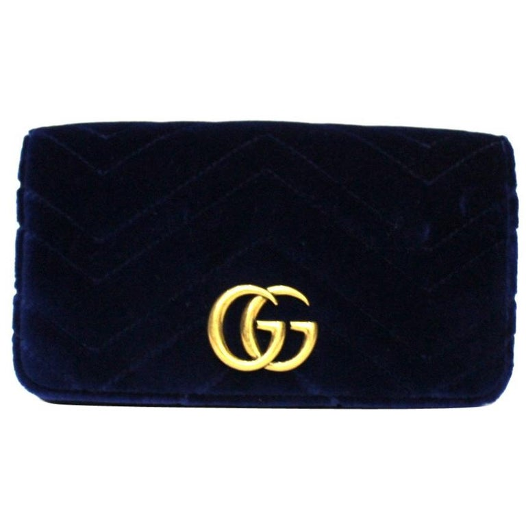 Gucci Blue Velvet Marmont Bag For Sale