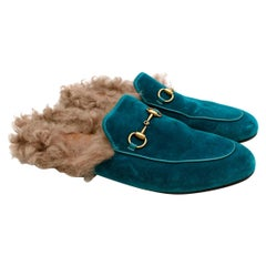 Gucci Blue Velvet Shearling Lined Princetown Slippers  - Size EU 39
