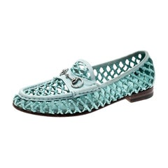 Gucci Blue Woven Leather Horsebit Slip On Loafers Size 37.5