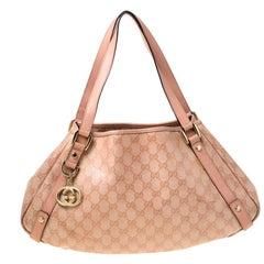 Gucci Blush Pink GG Crystal Canvas and Leather Abbey D Ring Hobo