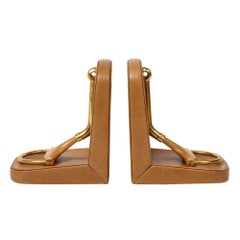 Gucci Bookends, Horsebit, Tan Leather Brass and Wood, Signed