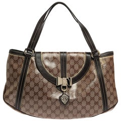 Gucci Borwn/Beige GG Crystal Canvas and Leather Duchessa Flap Shoulder Bag