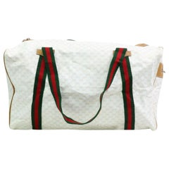 62a9e6421ea6 Gucci Boston Large Supreme Sherry Duffle 870309 White Coated Canvas Travel  Bag