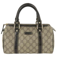 6c5905178b55 Gucci Boston Monogram Joy 870637 Brown Gg Supreme Canvas Satchel