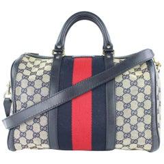 44e3c98d1617 Gucci Boston Navy Sherry Web J Strap 4gj0111 Blue Canvas Weekend/Travel Bag.  Gucci Convertible Travel Bag GG Coated Canvas Medium
