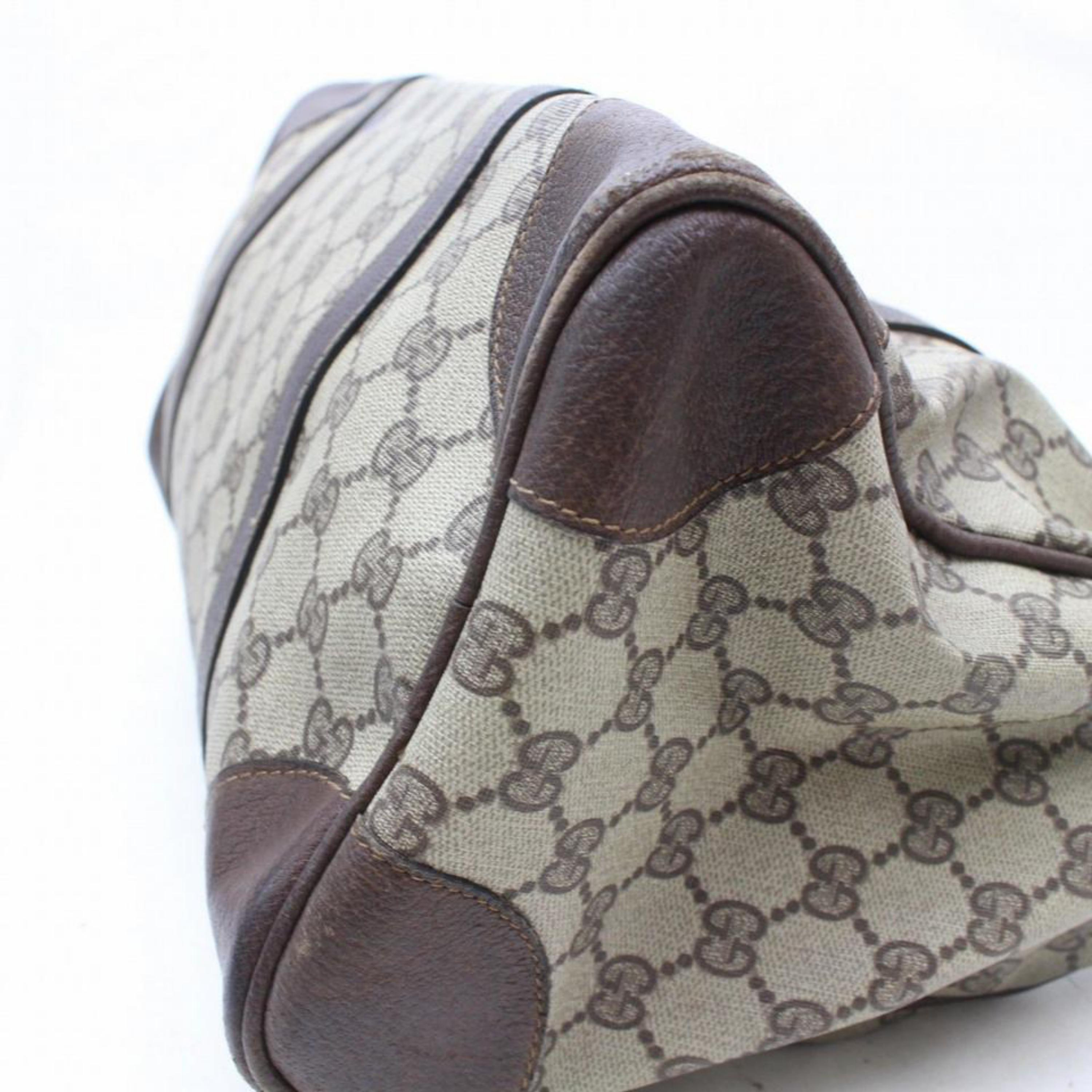dfcef162a Gucci Boston Supreme Monogram 869237 Brown Coated Canvas Satchel For Sale  at 1stdibs