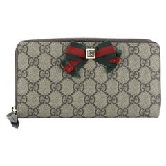 Gucci Bow Zip Around Wallet GG Coated Canvas