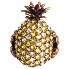 GUCCI brass yellow & white CRYSTAL PINEAPPLE Ring Sz 7.5