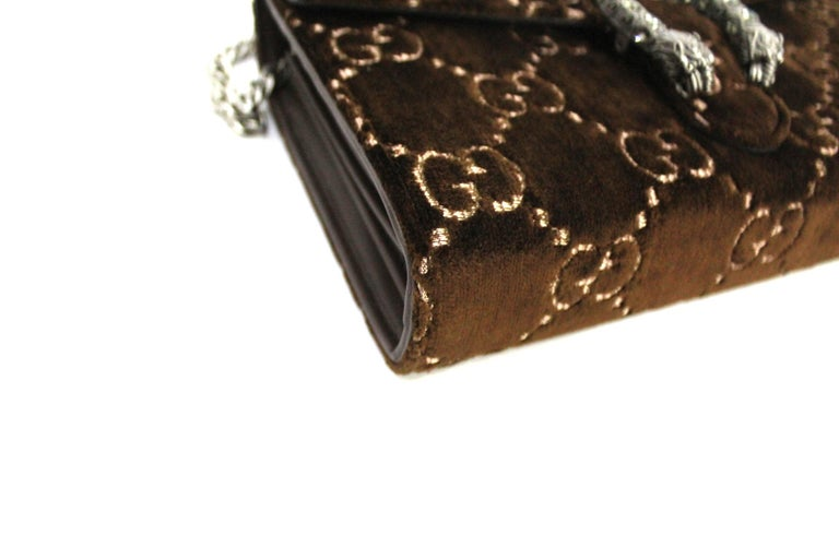 Gucci Brawn Velvet Dionysus Bag In New Condition For Sale In Torre Del Greco, IT