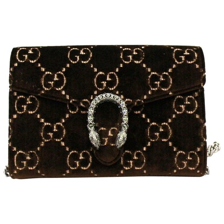 Gucci Brawn Velvet Dionysus Bag For Sale