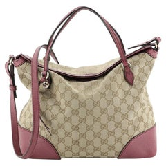 Gucci Bree Convertible Top Handle Bag GG Canvas with Leather Medium