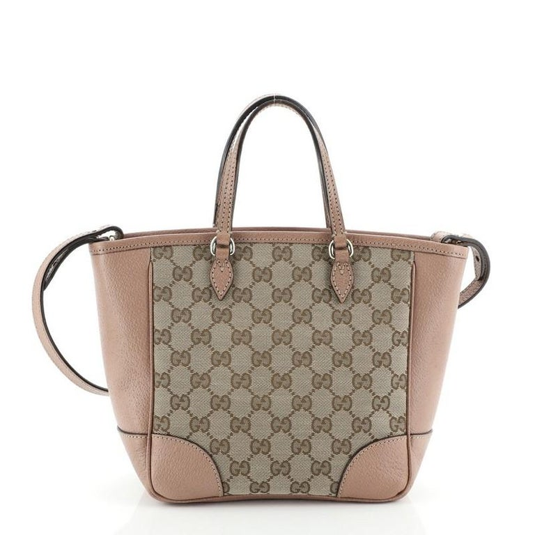 Gucci Bree Convertible Tote GG Canvas with Leather Small In Good Condition For Sale In New York, NY