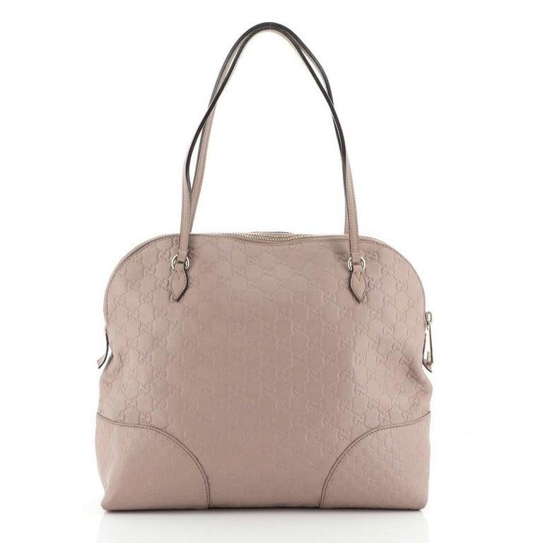 Brown Gucci Bree Dome Tote Guccissima Leather Medium