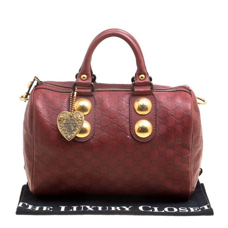 79de6225179 Gucci Brick Red Guccissima Leather Babouska Boston Bag For Sale at ...