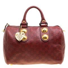 Gucci Brick Red Guccissima Leather Babouska Boston Bag