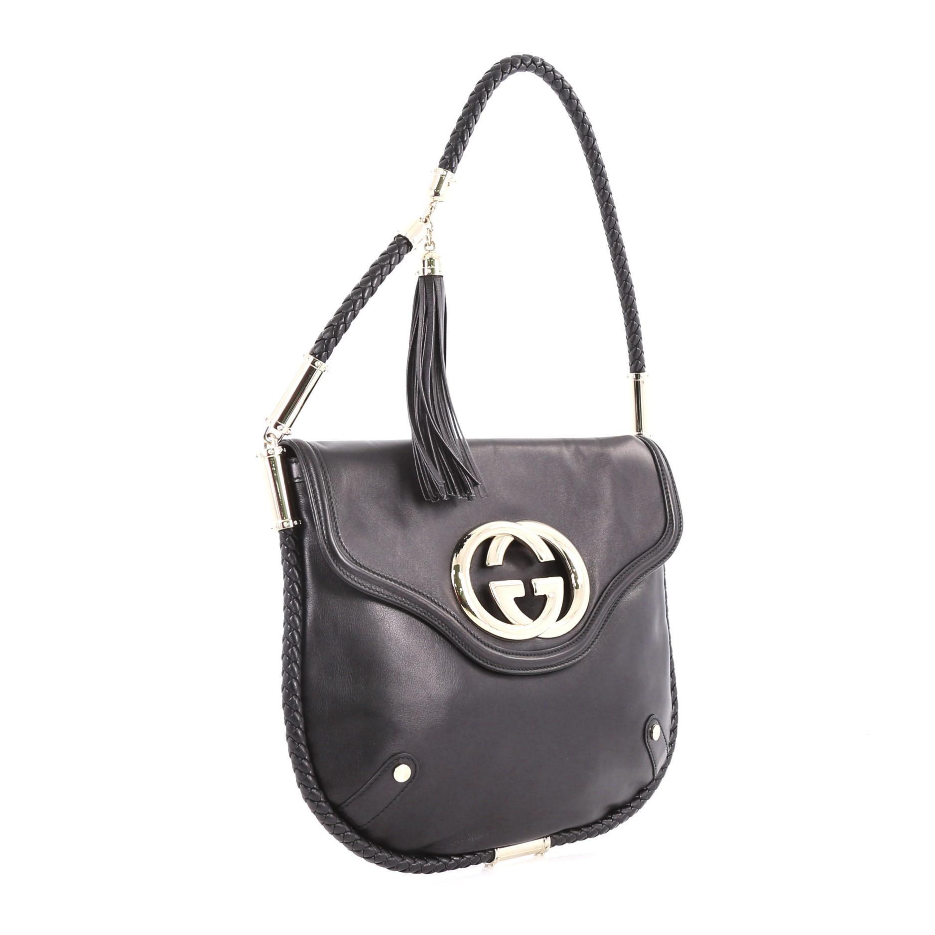 0035f0347813 Gucci Britt Tassel Flap Bag Leather Medium at 1stdibs