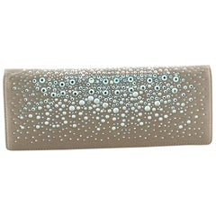 Gucci Broadway Clutch Crystal Embellished Satin Long