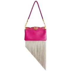 GUCCI Broadway Crystal Fringed Water Snake Pink Clutch Bag