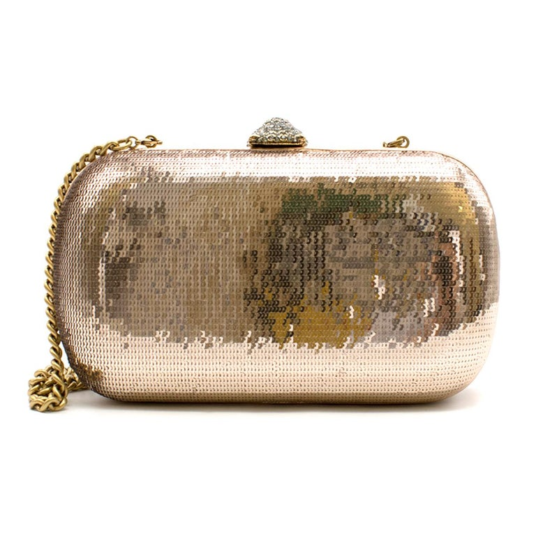 Gucci Broadway Gold Sequin Embroidery Clutch  - Antiqued gold-tone hardware - Single chain-link shoulder strap - Multicolor crystal embellishments throughout exterior - Pink leather interior - Slit pocket at interior wall  - Crystal embellished