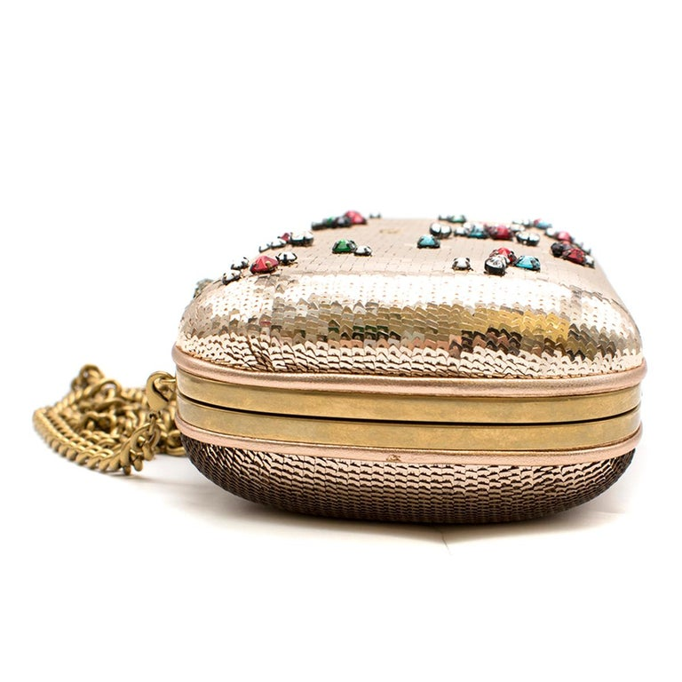 Gucci Broadway Gold Sequin Embroidered Clutch  For Sale 1