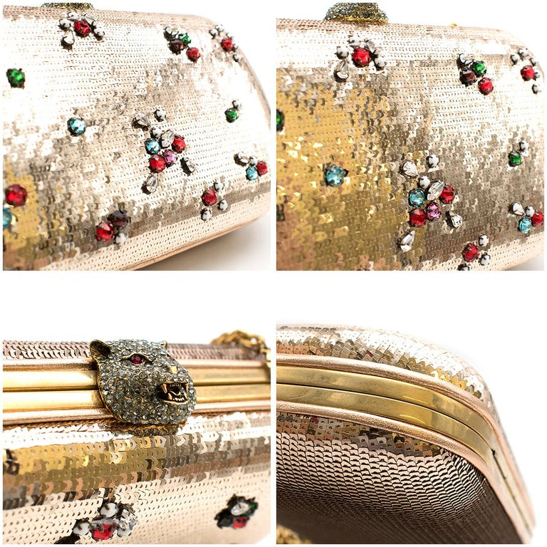 Gucci Broadway Gold Sequin Embroidered Clutch  For Sale 3