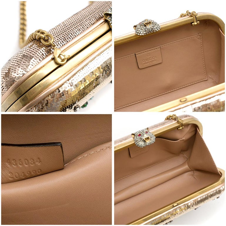 Gucci Broadway Gold Sequin Embroidered Clutch  For Sale 4