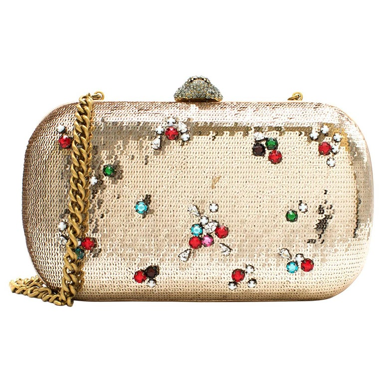 Gucci Broadway Gold Sequin Embroidered Clutch  For Sale