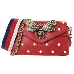 3c1883b7750efa Gucci Broadway Pearl Studded Mini Bee Chain Flap 10gz1113 Red Leather Cross  Body