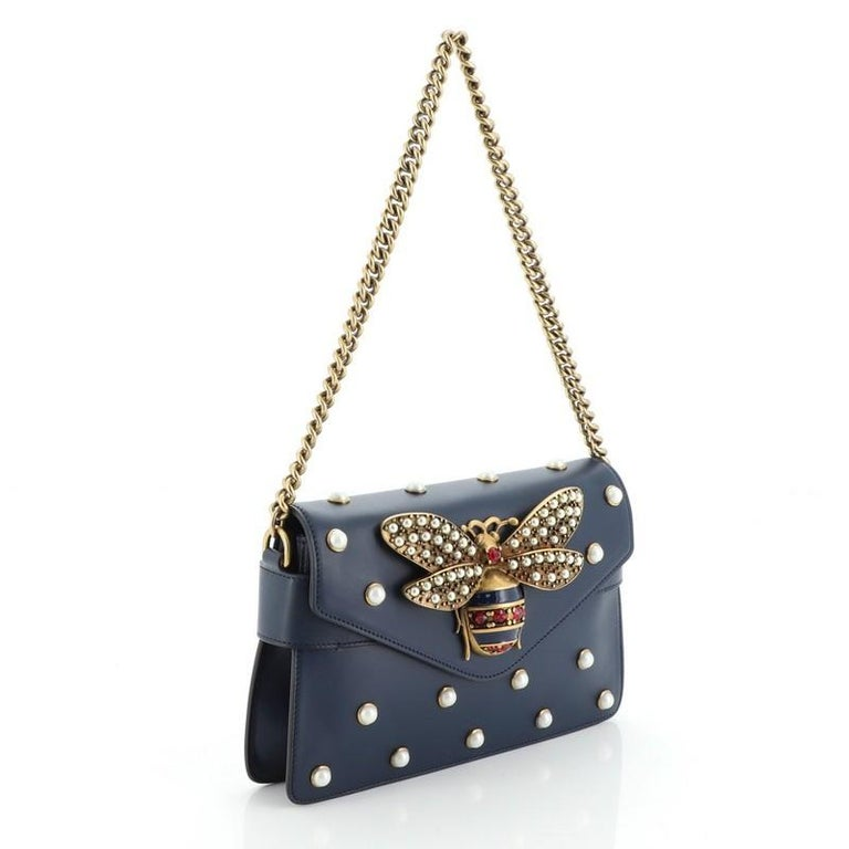 Gucci Broadway Pearly Bee Shoulder Bag Embellished Leather Mini In Good Condition For Sale In New York, NY