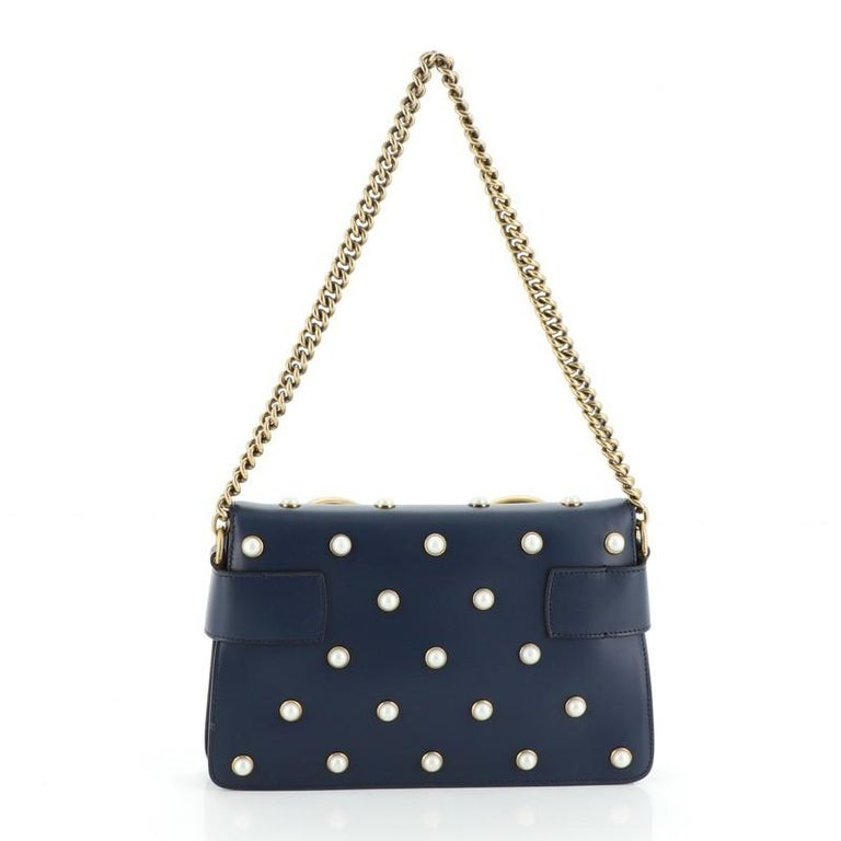 Women's or Men's Gucci Broadway Pearly Bee Shoulder Bag Embellished Leather Mini For Sale