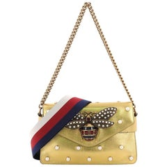 Gucci Broadway Pearly Bee Shoulder Bag Embellished Leather Mini
