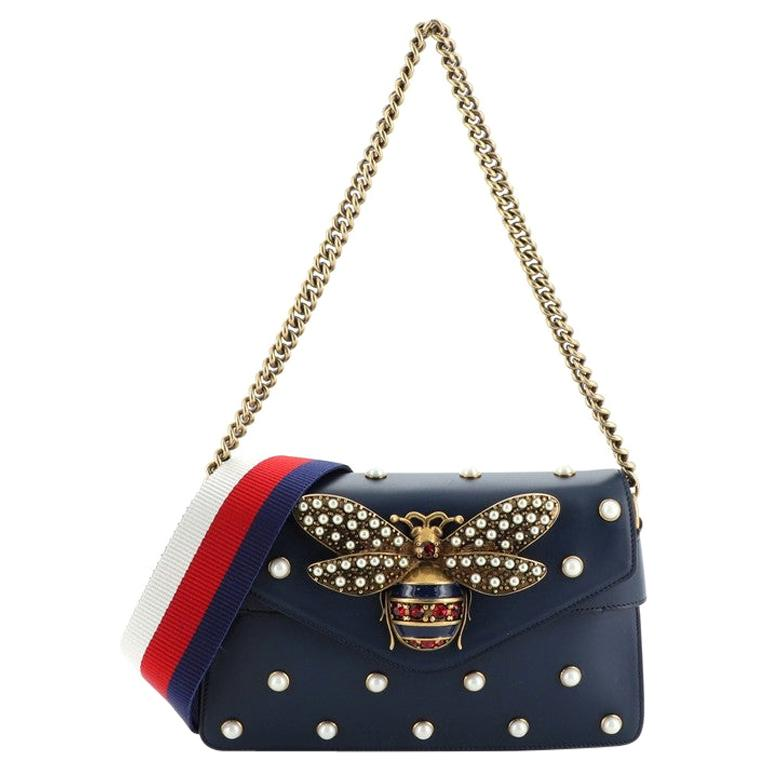 Gucci Broadway Pearly Bee Shoulder Bag Embellished Leather Mini For Sale