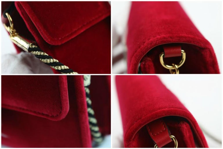9993c53f123d Gucci Broadway Small Flap 1gz0921 Red Velvet Cross Body Bag For Sale ...