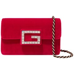 Gucci Broadway Small Flap 1gz0921 Red Velvet Cross Body Bag