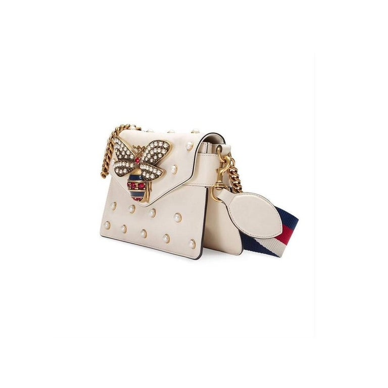 GUCCI Broadway White Leather Clutch  In New Condition For Sale In Brossard, QC
