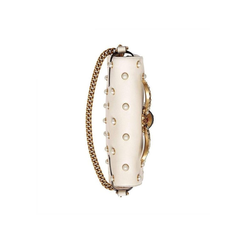 GUCCI Broadway White Leather Clutch  For Sale 1