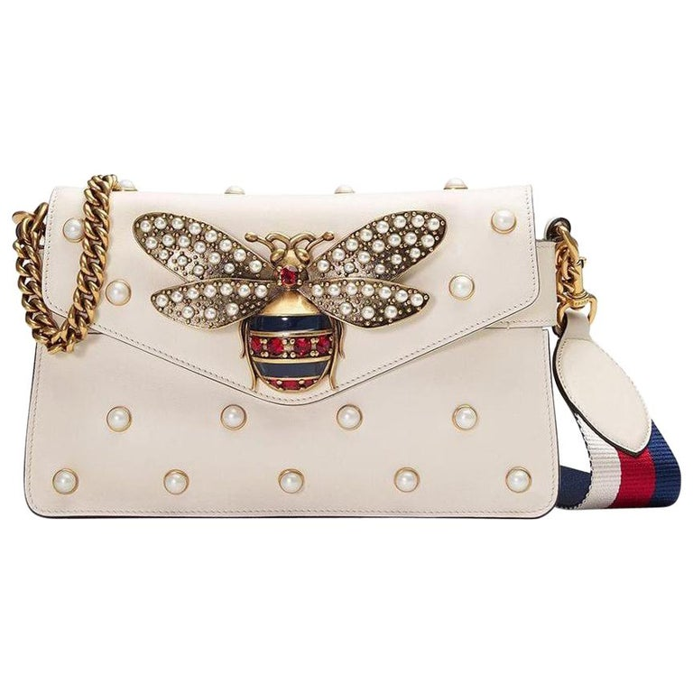 GUCCI Broadway White Leather Clutch  For Sale