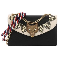 Gucci Broche Flap Bag Leather with Snakeskin Small