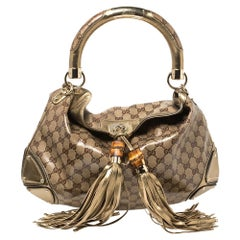 Gucci Bronze GG Crystal Coated Canvas Medium Indy Hobo