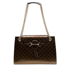 Gucci Bronze Guccissima Patent Leather Large Emily Chain Shoulder Bag